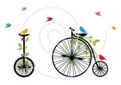 Vintage bicycle with birds, digital clip-art, clipart, clip art ...