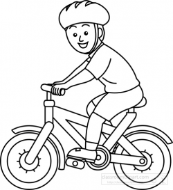Sports Clipart- bicycle-rider-wearing-helmet--bw-outline - Classroom ...