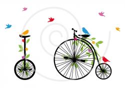 Vintage bicycle with birds digital clip-art clipart clip