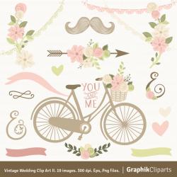 Vintage Wedding Clip Art II. Floral Bouquet Bicycle Doodles