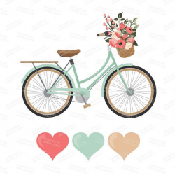 Premium Wedding Clipart & Vectors - Mint and Coral Bicycle Clipart ...