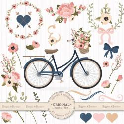 Premium Wedding Clipart & Vectors Navy And Blush Bicycle