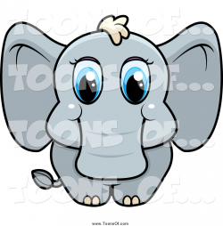 Clipart of a Cute Baby Elephant with Big Blue Eyes by Cory Thoman ...