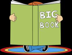 Kid Reading a Big Book Clip Art - Kid Reading a Big Book Image