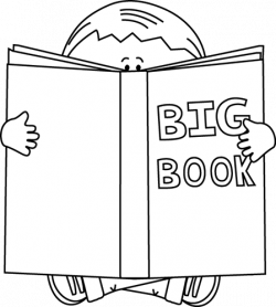 Black and White Boy Reading a Big Book Clip Art - Black and White ...