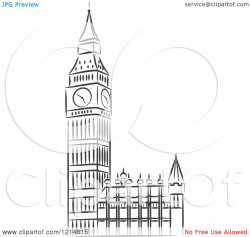 Big ben clipart black and white