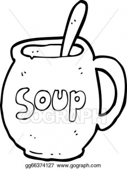 Vector Clipart - Cartoon big soup mug. Vector Illustration ...