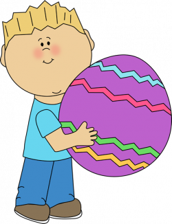 Boy with a Big Easter Egg Clip Art - Boy with a Big Easter Egg Image