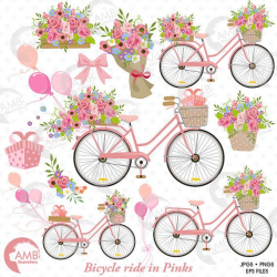 Wedding Bicycle clipart, Bicycle clipart, Bicycle and Flowers ...