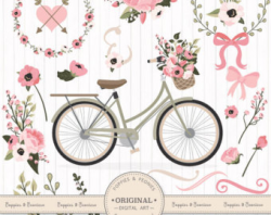 Premium Wedding Clipart & Vectors Mint and Coral Bicycle