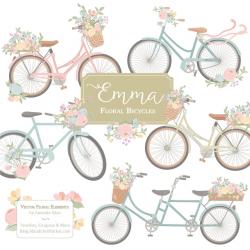 Emma Floral Bicycle Clipart & Vectors in Grandmas Garden - pastel ...