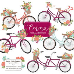 Emma Floral Bicycle Clipart & Vectors in Bohemian - bohemian ...