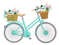 Blue Bicycle Painting Vintage bicycle with flowers in basket ...