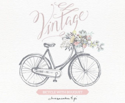 Vintage Bicycle With Floral Bouquet Clipart / Wedding Invitation ...