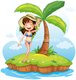 Illustration of a girl wearing a bikini with a hat in front of a ...