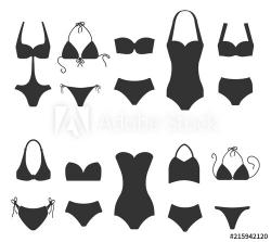 Set of women swimsuit icons isolated on white background ...