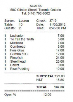 Acadia Restaurant 025 THE BILL | Foodie Images