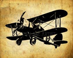 Vintage Biplane Airplane Clipart Lineart Illustration Instant