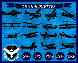 16 Biplane Silhouette   Biplane Clipart   Biplane Vector   Biplane ...