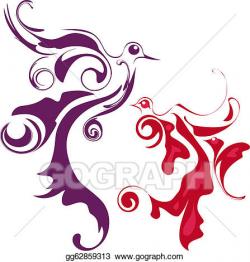 Stock Illustration - Birds of paradise, abstract stylized bird ...