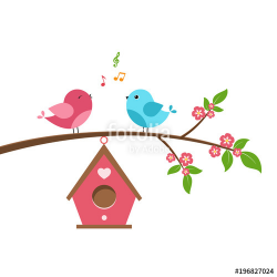 Singing bird on branch. Spring scene with flowers, trees and a ...