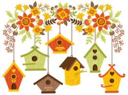 Bird House Clipart Digital Vector Birdhouse Flowers