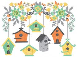 Bird House Clipart - Digital Vector Birdhouse, Flowers, Summer ...