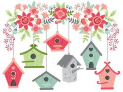 Birdhouse Clipart - Digital Vector Bird, Flowers, Summer, Branch ...