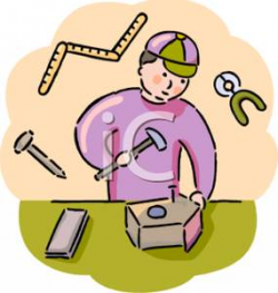 Boy Building a Birdhouse In Shop Class - Royalty Free Clipart Picture