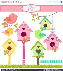 ON SALE Birds and Birdhouse clipart, bird clipart, Birds clipart, flowers  birdhouse, pink bird clip art