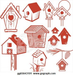 country birdhouse clipart | stock illustration clip art set of ...