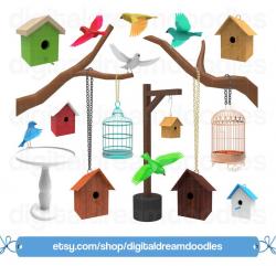 Bird Clipart, Bird Clip Art, Bird House Graphic, Birdhouse PNG, Bird Cage  Image, Birdcage Scrapbook, Bird Bath, Tree Branch Digital Download