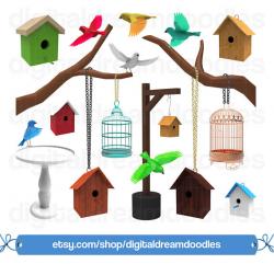 Bird Clipart, Bird Clip Art, Bird House Graphic, Birdhouse PNG, Bird ...