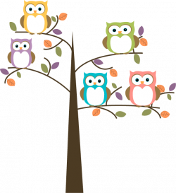 Owl Cartoon | Colorful Owls in Pretty Tree Clip Art - Colorful Owls ...