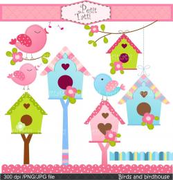INSTANT DOWNLOAD Digital clip art , Birds and Birdhouse, Birds ...