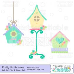 Pretty Birdhouse SVG Cut Files & Clipart Set