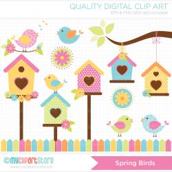 Clipart Spring Birds / Bird House / Garden Digital Clip