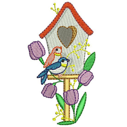 Machine Embroidery Designs - Spring Time Birdhouses (1)