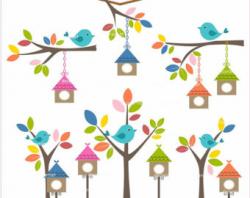 Spring Bird Houses Clipart