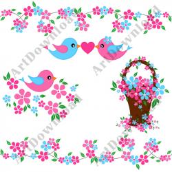 Clip Art Birds Pink And Blue Birds Love Birds Digital Bird And ...