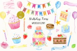 Birthday clip art Watercolor Birthday Icons cakes cupcakes