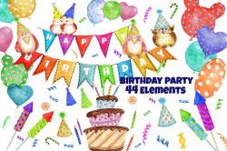 Watercolor Birthday Party Clipart by Vi | Design Bundles