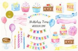 Birthday clip art, Watercolor Birthday Icons, cakes, cupcakes ...