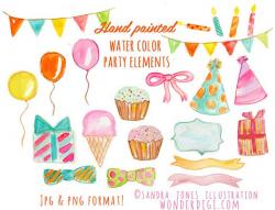 Watercolor Clipart Watercolor Birthday Party Watercolor