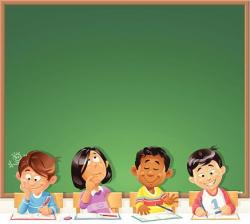 Kids in Front of Blackboard   Clipart School /Kindergarten ...