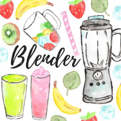 Watercolor fruit blender clipart - food illustration - health graphics -  commercial use
