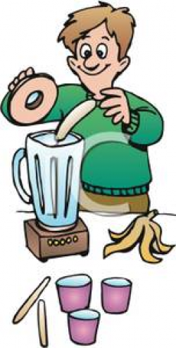 A Smiling Man Putting a Banana Into a Blender - Clipart