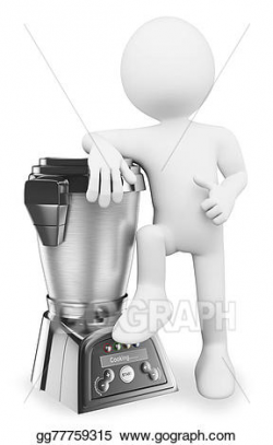 Clip Art - 3d white people. man with a modern food processor. Stock ...