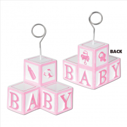 Baby Blocks Girl Photo Holder Balloon Weight