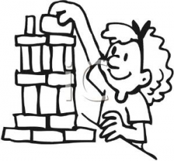 Coloring Page of a Girl Playing with Building Blocks - Clipart